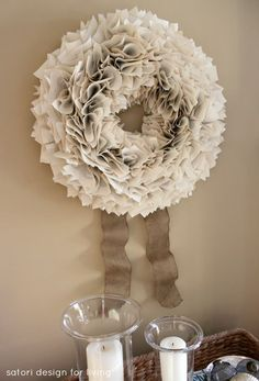 DIY Book Page Wreath with Burlap Ribbon | Satori Design for Living