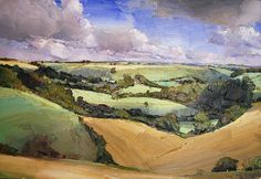 """Compton Valence,"" 2007, © Oliver Akers Douglas. I usually go to period sources for image inspirations for my novel, but the landscapes of contemporary British landscape painter Oliver Akers Douglas speak to some of the expansiveness and energy I imagine in the book's English outdoor scenes."