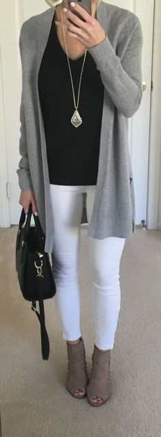 48 Best Ideas For Grey Boats Outfit Dressy Jeans Outfits With Grey Cardigan, Jeans Outfit Winter, White Jeans Outfit, Casual Winter Outfits, Spring Outfits, Fall Jeans, Spring Shoes, Casual Jeans, Cardigan Gris