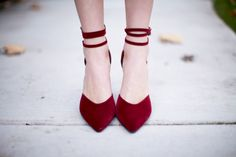Ah, the feeling of gorgeous new shoes like the Bliss 15 Burgundy Triple Strap Pointed Heels. Velvety vegan suede split upper with three wraparound ankle straps. Ankle Strap Heels, Ankle Straps, Crazy Shoes, Me Too Shoes, Cinderella Shoes, Walk In My Shoes, Pointed Heels, Wedding Heels, Before Us