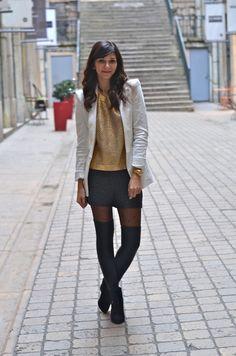 pull doré h&m blazer blanc zara