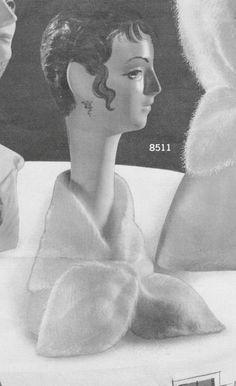 Vintage 1960's Head or Neck Scarf Knitting Pattern, Angora Wool, Ladies Wear, Dressy