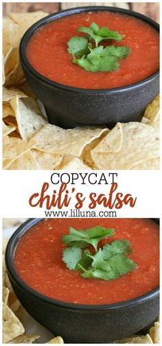The restaurant salsa you know and love, made at home anytime you like! This Chili's Salsa copycat recipe is literally made in minutes with the help of a blender. Perfect as a side, or a party appetizer. Mexican Food Recipes, New Recipes, Cooking Recipes, Favorite Recipes, Healthy Recipes, Blender Recipes, Party Recipes, Sauce Recipes, Sauces