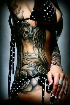 Cute black and white bikini ~ Amazing tattoos