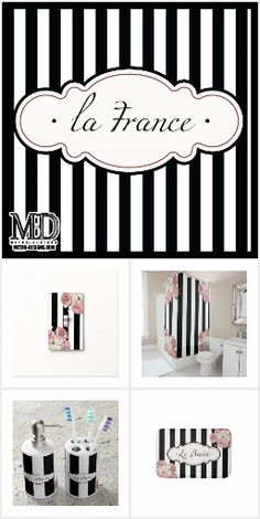 Black and white with floral motif. French inspired design for your bathroom. French Bathroom Decor, Bathroom Styling, White And Pink Roses, Floral Tablecloth, French Style Homes, Striped Shower Curtains, Factory Design, Canvas Designs, Light Switch Covers