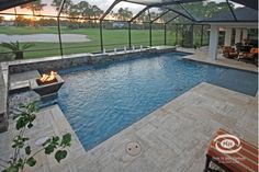 Luxurious pool paved in a french pattern.