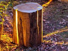 furniture design, Duncan Meerding, Cracked Log Lamp, lamp design, LED lights, sustainable design, green lighting, Tasmania, reclaimed timber