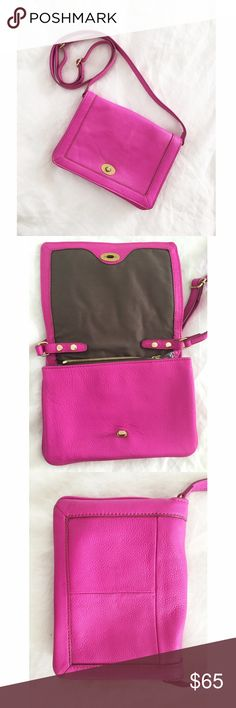 """Pink J. Crew Tillary Crossbody Purse Condition: Minor wear on back as shown in last pic, otherwise in great condition! Material: Leather Measurements: Removable, adjustable shoulder strap fully extends to 25"""". 7""""H x 9""""W x 3/4""""D. Description (per J. Crew site): Crafted in leather designed to age beautifully, it'll hang in your closet—and on your arm—for years to come. The adjustable, detachable strap lets you style it short, long, as a crossbody or even as a clutch—kind of genius if you ask…"""