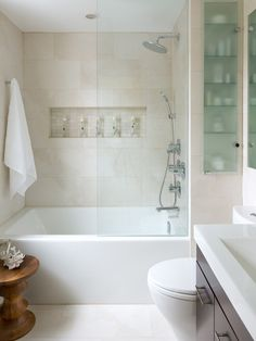 This is the inspiration photo for my bathroom makeover. It is absolutely perfect! Small Space Bathroom - contemporary - Bathroom - Other Metro - Toronto Interior Design Group Modern Baths, Contemporary Bathrooms, Contemporary Design, Contemporary Shower, Modern Shower, Modern Design, Small Space Bathroom, Small Tub, White Bathroom