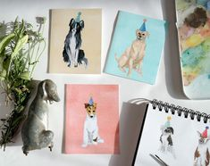 Party Dogs Set of 9 Folded Cards by StripedCatStudio on Etsy