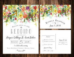 Bright Bohemian Wildflower Wedding Invitations by papernpeonies