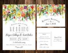 Bright Bohemian Wildflower Wedding Invitations by papernpeonies