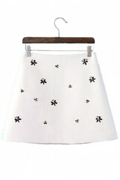 Rhinestone Beading Skirt in White