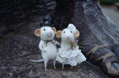 Bride Mice Needle Felted Ornament Felting by feltingdreams