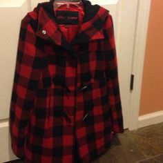 Betsy Johnson wool coat Red/black wool coat.  Hangs to below waist.  Red liner and a small hole INSIDE the right pocket in liner.  But great coat! Betsey Johnson Jackets & Coats Pea Coats