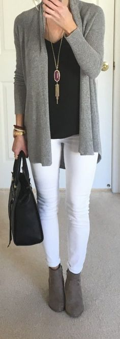 #winter #outfits / Grey Cardigan - White Jeans