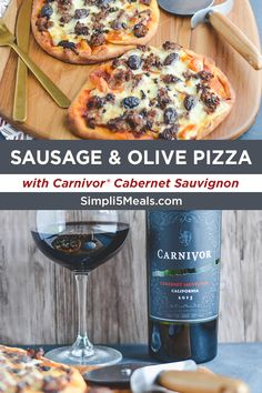 Sausage Pizza & Cabernet Sauvignon: Italian food and red wine? Don't mind if we do! This sausage and olive pizza is just 5 ingredients! Pizza Recipes, Meat Recipes, Cooking Recipes, Healthy Recipes, Good Food, Yummy Food, Tasty, Stromboli, Pizza