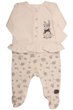 Newborn girls babygrow with floral printed leggings and a sweet frilled top with bunny print.