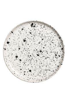 Porcelanowy talerz we wzory - Biały/Czarne kropki - HOME | H&M PL 2
