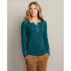 Add dimension to your style with this split-neck henley's subtly textured pointelle rib and slub jersey accents. Cotton ladder trim, metal buttons and side slits. Eddie Bauer, Fall Pants, Henleys, Fall Shirts, Work Wardrobe, Style Me, Autumn Fashion, Tunic Tops, Style Inspiration