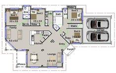 4 bedrooms home plan 4 bed 4 bedroom plus double garage home plans modern Open Floor House Plans, Garage Floor Plans, Farmhouse Floor Plans, Basement House Plans, Craftsman House Plans, House Plans For Sale, Porch House Plans, Simple House Plans, 4 Bedroom House Plans