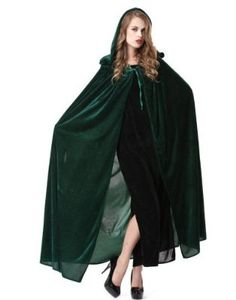 Deluxe Blue / Green Velvet Cape with Hood - Halloween Witch Costume Accessory Lady (Green) Wendy wore as part of her Macgonagall costume