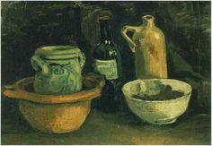 Naturaleza muerta con cerámica y dos botellas  Vincent van Gogh Pinturas, Óleo sobre tela Nuenen: noviembre, 1884 Museo Norton Simon Pasadena, California, Estados Unidos de América, Norteamérica F: 57, JH: 539
