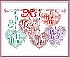 Lets Be Sweethearts - cross stitch pattern designed by Ursula Michael. Category: Words.