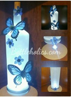 Lighted Centerpiece - BLUE BUTTERFLIES in Collectibles, Lamps, Lighting, Night Lights | eBay