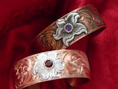 Hand Engraved Copper Bracelets with sterling silver flowers and gemstones, western bright cut and single point engraving
