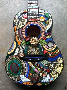 SALE, Flaming Heart Guitar, multi-media mosaic. $875.00, via Etsy.  My daughter made this!  Bailey Rae Creations on Etsy.  She does fabulous work!