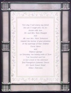Custom Stained Glass Frames for Wedding Invitations