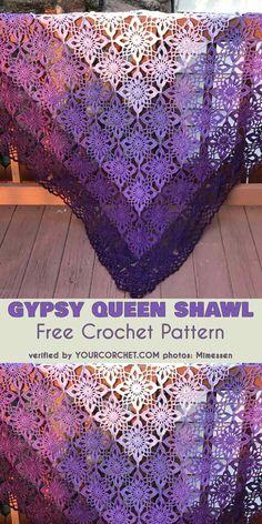 Gypsy Queen Shawl Free Crochet Pattern #freecrochetpatterns #crochetshawl