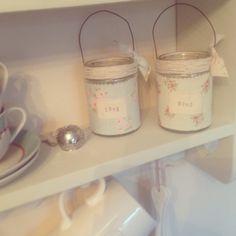 Jam jars as tea light holders