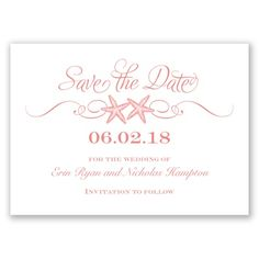 Beach Starfish - Save the Date Card - Inexpensive, Stylish, Nautical at Invitations By David's Bridal