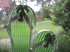 Palm Tree Flipflop Suncatcher by WindwoodGlass on Etsy, $16.00