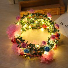 Boho LED Light Beach Girl Wreath Flower Headband Hair Band Floral Crown Garland , https://myalphastore.com/products/boho-led-light-beach-girl-wreath-flower-headband-hair-band-floral-crown-garland/,