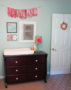 Project Nursery - Girl Blue and Coral Nursery Changer