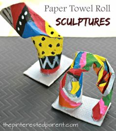 Twist bend and fold cardboard tubes to make simple … Paper towel roll sculptures. Twist bend and fold cardboard tubes to make simple structures and paint. Arts and crafts for kids. Paper Towel Crafts, Paper Towel Rolls, Towel Paper, Arts And Crafts For Teens, Easy Arts And Crafts, Kids Crafts, Painting Crafts For Kids, Quick Crafts, Creative Crafts