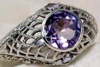 $34 Free gift of swarovski crystal earrings~2ct Amethyst 925 Sterling Sil Edwardian  Filigree Ring