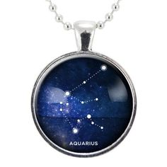 Aquarius Zodiac Necklace, Constellation Jewelry, Astrology Star Sign Pendant