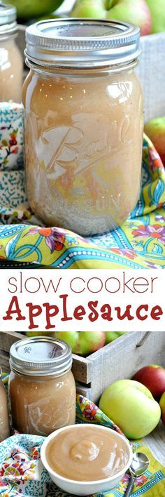 Homemade applesauce doesn't get any easier than this! This SLOW COOKER APPLESAUCE is my family's absolute favorite recipe! A perfect fall side dish.