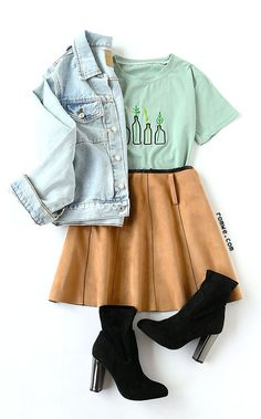 College Girl - Green Plant Embroidered T-Shirt with pleated skirt and denim jacket from rowme.com