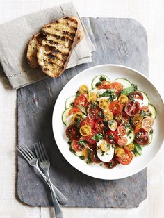 Mixed Tomato Salad with Zucchini  Buffalo Mozzarella