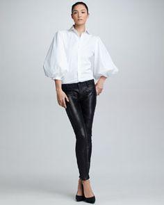 Ralph Lauren Black Label Aston Puff-Sleeve Cotton Poplin Blouse & Leather-Front Moto Jeans