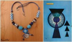Size / Weight/Material a total of approx. 52 cm  weight 31 g.  Used materials Fastener from metal, glass beads, leather tape, hand-crocheted and wood pearls. Murano and neon glass beads.  Production kind Hand-made