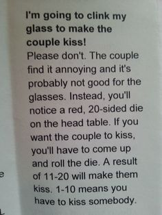 My tabletop gamer friend got married this weekend. This was in the itinerary. - Imgur