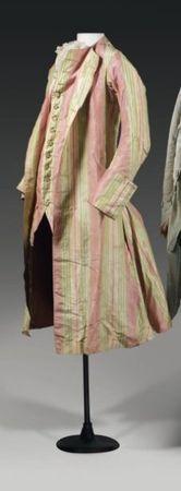 veste d'habit de gentilhomme à gilet factice, pour l'été ou les colonies, vers 1760.