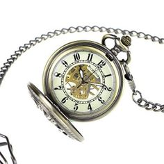 Glow-in-Dark-Pacifistor-Bronze-Police-Mens-Classic-Vintage-Antique-Skeleton-Mechanical-Analog-Pocket-Watch-Fob-Chain-PX-013-BRZ-0