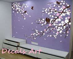 Artículos similares a Cherry Blossom Branches with Birds - Vinyl wall sticker- wall decal- tree decals- wall murals art - nursery wall decals- Floral-Nature en Etsy